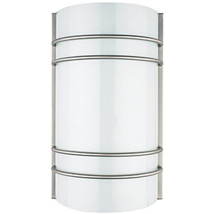 LED Bent Glass Wall Sconce Bright Satin Nickel