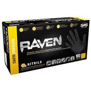 Large SAS Safety Raven Disposable Black Nitrile Gloves, Box of 100