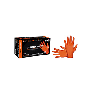 Astro-Grip Orange Disposable Nitrile Gloves, Medium 100/Box, 66572