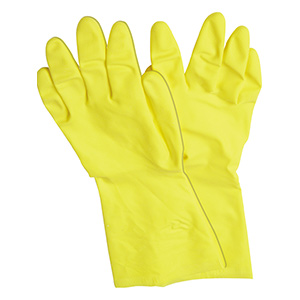 """Latex Gloves, Yellow, Small, Flock-Lined Interior, 12"""" With Nonslip Grip"""
