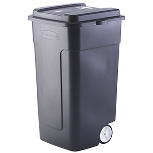 50 Gallon Rubbermaid Trash Can w/Lid and Heavy-Duty Wheels
