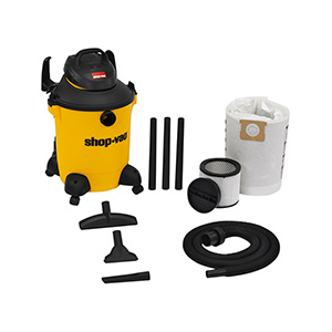 Wet/Dry Vacuum, 4 HP, 10 Gallon, 8 ft Lock-On Hose, With Tools, Casters