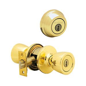 Kwikset Deadbolt/Abbey Entry Combo Polished Brass