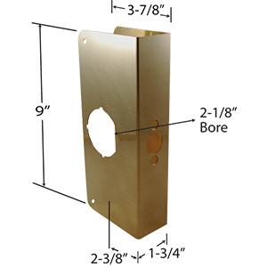 "Door Reinforcer Oversized 3-7/8"" x 9"" Polished Brass"