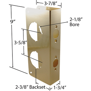 "Door Reinforcer Oversized 2-Bore 3-7/8"" x 9"" Polished Brass"