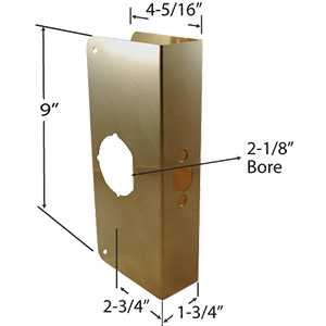 "Door Reinforcer Oversized 4-5/16"" x 9"" Polished Brass"