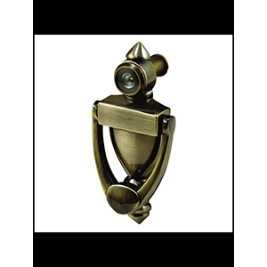 """Door Knocker 5-1/2"""" with 180° Viewer Antique Brass"""