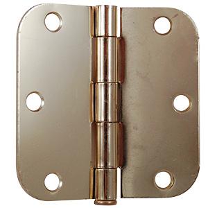 "Door Hinge 5/8"" Radius Corner 3-1/2"" Polished Brass"