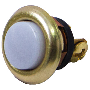 Round Lighted Door Chime Button Brass Trim