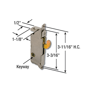 Sliding Patio Door Mortise Latch 45° Keyway