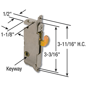 Sliding Patio Door Mortise Latch 90° Keyway