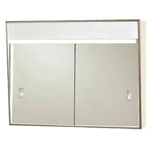 "Surface Medicine Cabinet Sliding Mirror with Light 24"" x 18"""