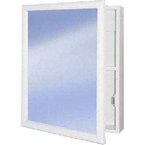 "Surface Mount Medicine Cabinet Framed Mirror 16"" x 20"" White"