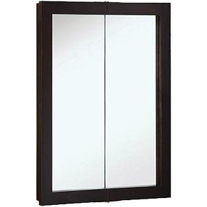 "Surface Mount Bi-View Medicine Cabinet 24"" x 24"" Espresso"