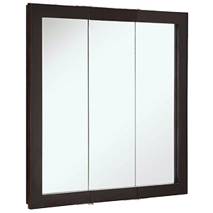 "Surface Mount Tri-View Medicine Cabinet 30"" x 30"" Espresso"