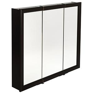 "Surface Mount Tri-View Medicine Cabinet 24"" x 26"" Espresso"