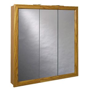 "Surface Mount Tri-View Medicine Cabinet 24"" x 26"" Oak"