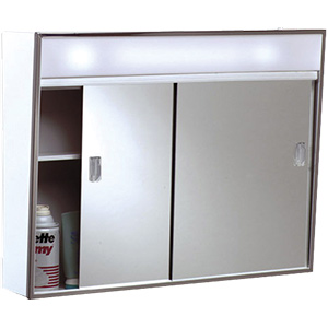 "Surface Medicine Cabinet Sliding Mirror with Light 28"" x 19"""