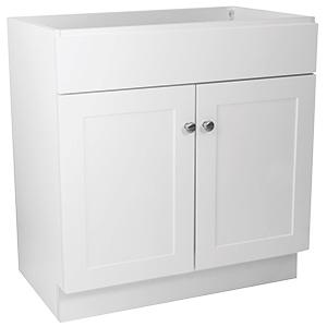 "White Assembled Vanity Base 30""W x 18""D"