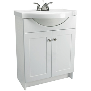 "White Assembled Euro Vanity Combo 24""W x 12""D"