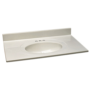 """Cultured Marble Vanity Top 19"""" X 17"""" White on White"""