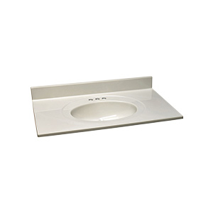 """Cultured Marble Vanity Top 25"""" X 19"""" White on White"""