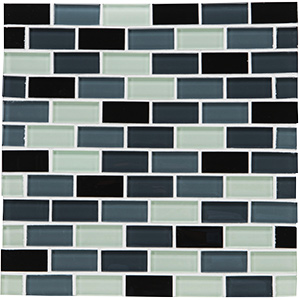 """Glass Tile Shimmer Blend 1"""" x 2"""" Brick Joint Shadow"""