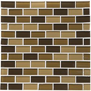 """Glass Tile Shimmer Blend 1"""" x 2"""" Brick Joint Desert"""