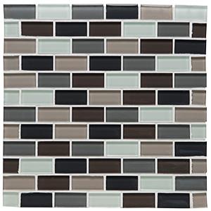 "Glass Tile Shimmer Blend 1"" x 2"" Brick Joint Autumn"