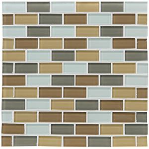 "Glass Tile Shimmer Blend 1"" x 2"" Brick Joint Haze"