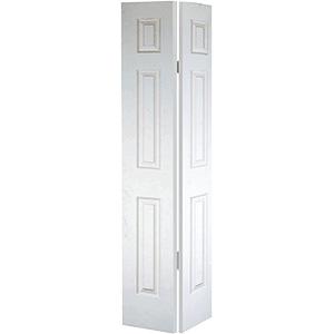 """Bifold Door Set 6-Panel Primed White 30"""" X 80"""""""