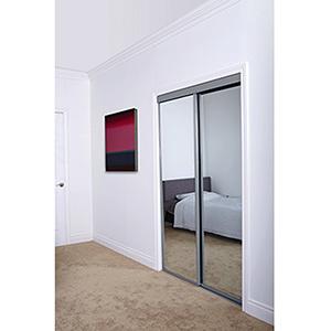"Mirror Bypass Door Top Roller Artic Silver Frame 60"" x 80"""