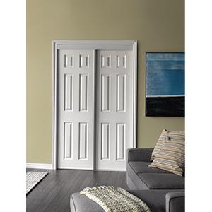 """Bypass 6-Panel Sliding Door White 72"""" x 80"""""""