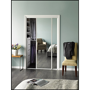 "Mirror Bypass Door Bottom Roller White Frame 48"" x 80"""