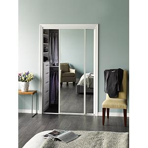 "Mirror Bypass Door Bottom Roller White Frame 60"" x 80"""