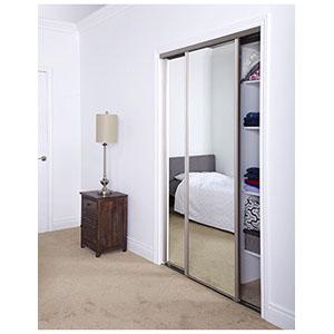 """Mirror Bypass Door Bottom Roller Artic Silver Frame 72"""" x 80"""""""
