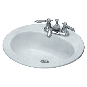 "19"" Round Steel Lavatory Sink White"