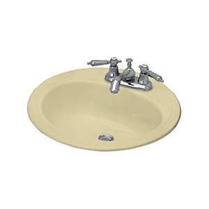 "19"" Round Steel Lavatory Sink Bone"