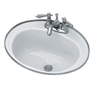 "18"" Round Steel Lavatory Sink White"