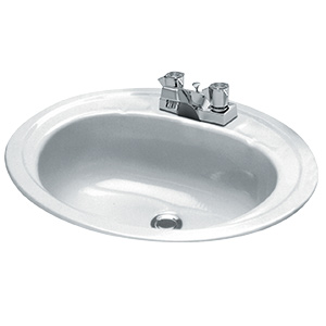 "17"" x 20"" Oval Steel Lavatory Sink White"