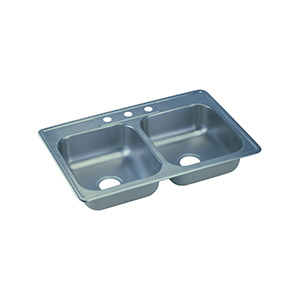 Elkay Stainless Steel Kitchen Sink Double Bowl 3-Hole