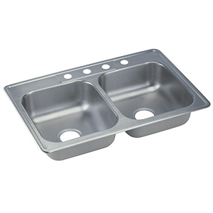 Stainless Steel Kitchen Sink Double Bowl 4-Hole
