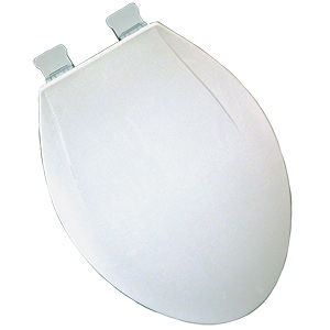 Plastic Elongated Heavy-Duty Slow-Close Toilet Seat White