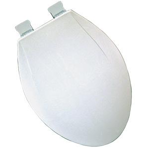 Plastic Elongated Heavy-Duty Slow-Close Toilet Seat White