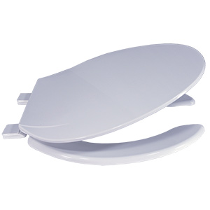 Plastic Elongated Heavy-Duty Open-Front Toilet Seat White