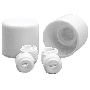 Screw-On White Toilet Caps