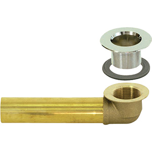"Brass Tub Shoe Assembly with Chrome 1-1/2"" Strainer Body"