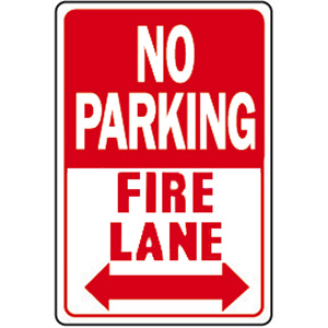 "No Parking Fire Lane Sign Aluminum 12"" x 18"""