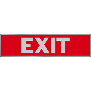 "Exit Sign Aluminum Self-Stick 8-1/2"" x 2-1/8"""