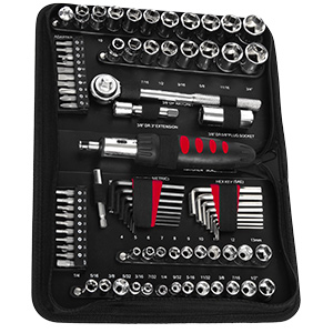83-Piece Tool Set, 6 & 8-Point Standard/Metric Sockets